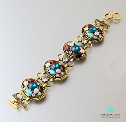 Bracelet en laiton orné de quatre médaillons...