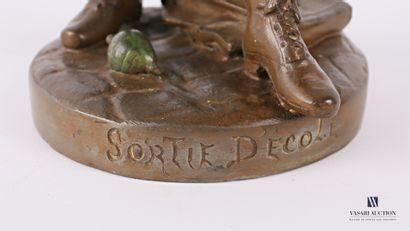 MOREAU Louis (1883-1952) d'après  Sortie d'école  Sujet en régule à patine polychrome...