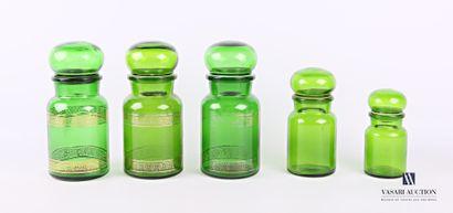 Suite de cinq pots d'apothicaire en verre...