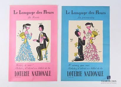 Lot de deux affiches pour la loterie nationale...