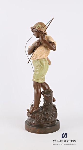 MOREAU Francois d'après  Young fisherman  Regulator with a polychrome patina  Signed...