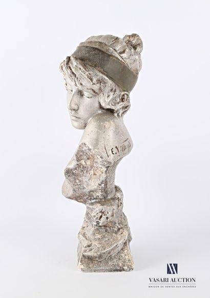 VILLANIS Emmanuel (1858-1914) d'après  Sapho  Plâtre à patine argenté  Signé au...
