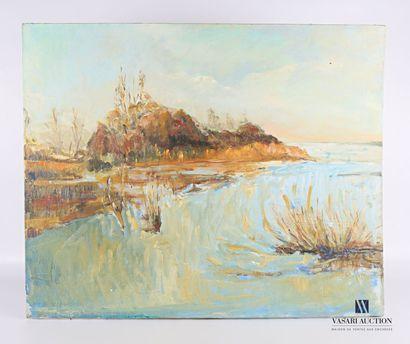 VERGNE Huguette (XXème siècle)  Paysage lacustre...