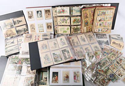 Lot de cartes diverses chromolithographiées,...
