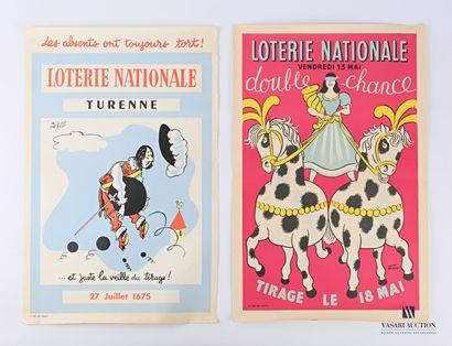 Lot de deux affiches de la loterie nationale...