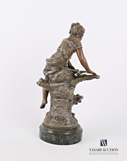MOREAU Louis & François (XIXème siècle) d'après  Le printemps  Régule à patine polychrome...