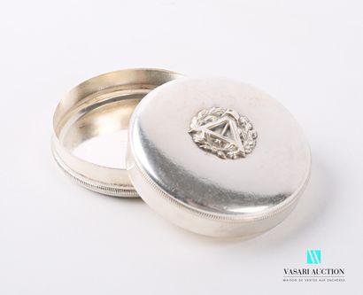 Boite de forme ronde en métal argenté, le...