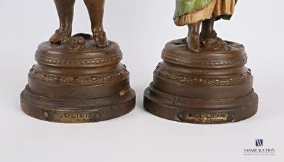 MOREAU (XIXème siècle) d'après  Écolier  Régule à patine polychrome  Socle en bois...