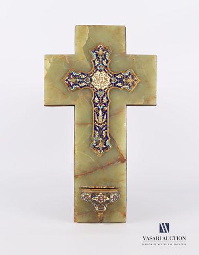 Bénitier d'applique en onyx et bronze, le...