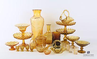 Lot en verre teinté ambre comprenant un vase...