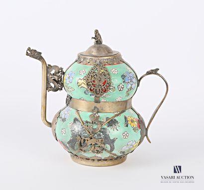 Verseuse de forme coloquinte en porcelaine...