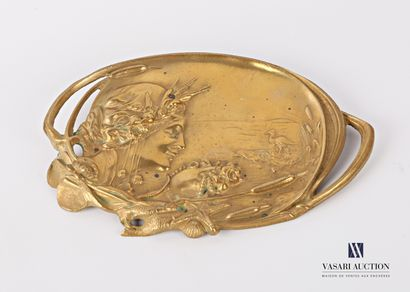 Vide poche en bronze de forme ovale à décor...