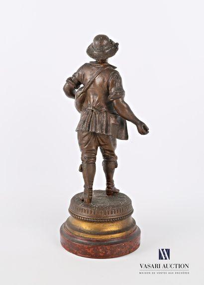 BRUCHON Émile (1880-1910) d'après  Le semeur  Régule à patine brune  Socle en bois...