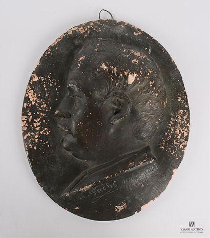 FACHE René (1816-1891)  Profil d'homme à...