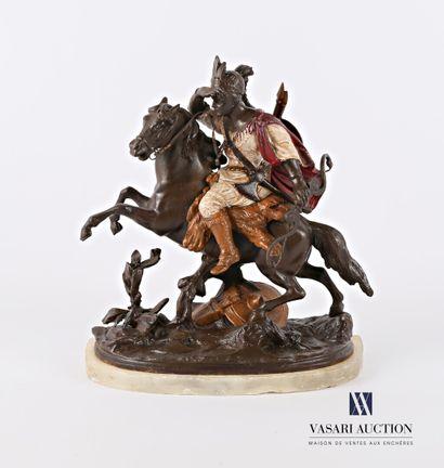 Cavalier apache  Régule à patine polychrome...
