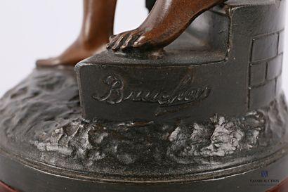BRUCHON Émile (1880-1910) d'après  Noel  Sujet en régule à patine polychrome  Socle...