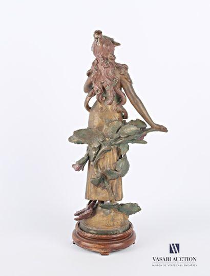 MOREAU Auguste (1831-1893) d'après  Nymphe  Régule à patine polychrome  Signé sur...