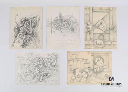 REJAS Pablo (XXème siècle)  Lot de cinq dessins...