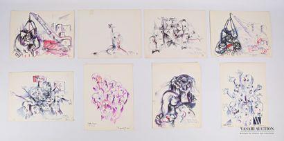 REJAS Pablo (XXème siècle)  Lot de huit dessins...