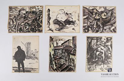 REJAS Pablo (XXème siècle)  Lot de six dessins...