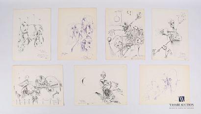 REJAS Pablo (XXème siècle)  Lot de sept dessins...
