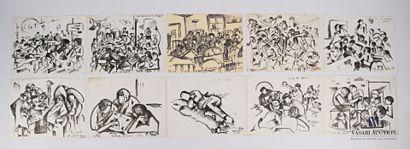 REJAS Pablo (XXème siècle)  Lot de dix dessins...
