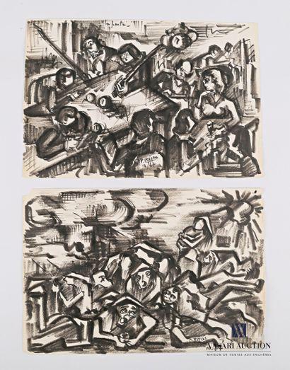 REJAS Pablo (XXème siècle)  Lot de deux dessins...