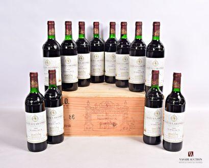12 bouteillesChâteau LASCOMBESMargaux GCC1986...
