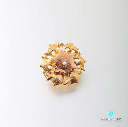 Broche ronde en or jaune 750 millièmes motif...