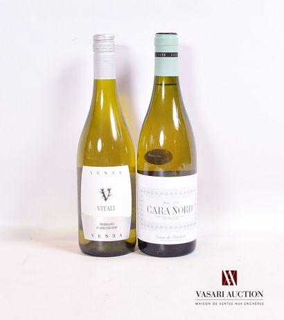 Lot de 2 bouteilles de vins blancs étrangers...