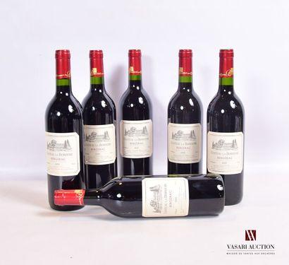 6 bouteillesBERGERAC mise Château La Borderie2005...