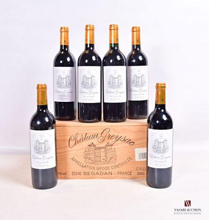 6 bouteillesChâteau GREYSACMédoc GCC2001...