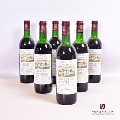 6 bouteillesChâteau LESTRILLECôtes de Bourg1988...
