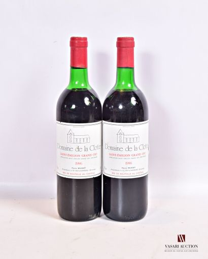 2 bouteillesDOMAINE DE LA CLOTTESt Emilion...