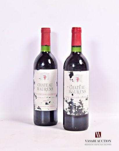 2 bouteillesChâteau MAURENSSt Emilion GC1982...