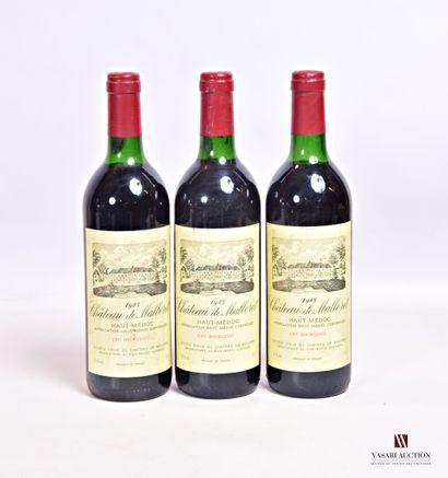 3 bouteillesChâteau de MALLERETHaut Médoc...