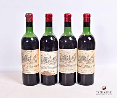 4 bouteillesChâteau LA TOUR DE MONSMargaux1962...