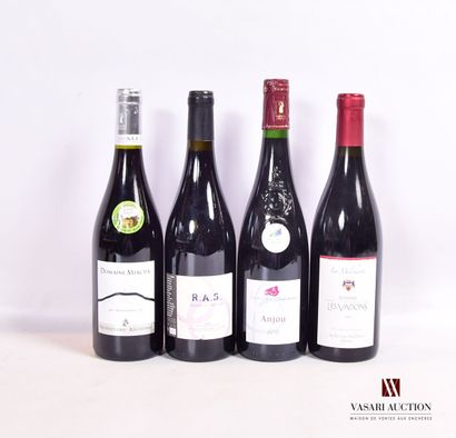 Lot de 4 bouteilles de rouge comprenant :...