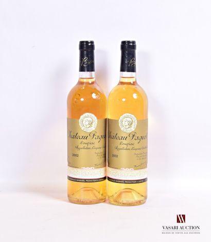 2 bouteillesChâteau PAGEOTLoupiac2002...