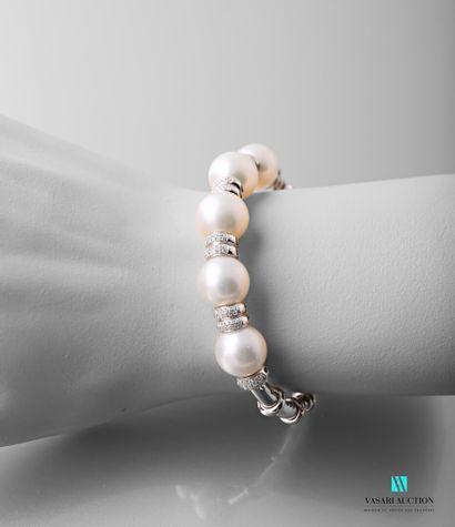 Bracelet jonc ouvert en or gris 750 millièmes...