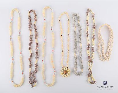 Ensemble de sept colliers de coquillage....