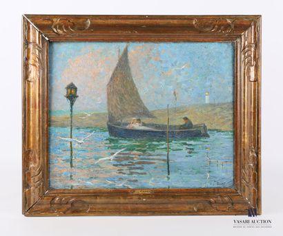 CADEL Eugène (1862-1942)  Sur l'eau  Huile...