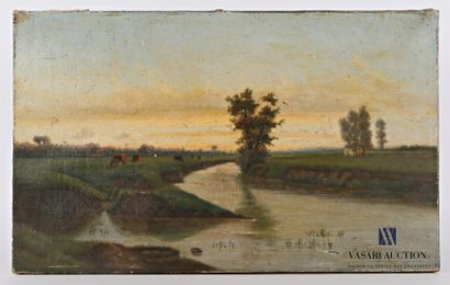 DELAVAU M. (XIXème siècle)  Vaches en paturesd...