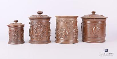 BEAUVAIS  Quatre pots à tabac de forme cylindrique...