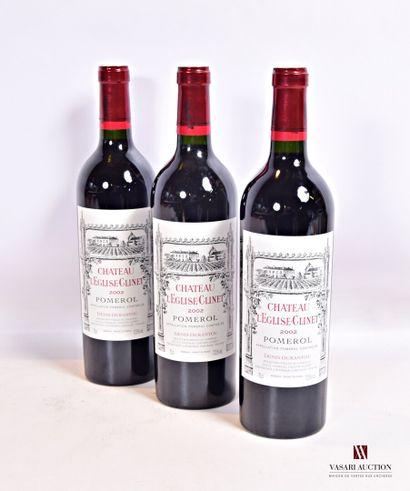 3 bouteillesChâteau L'EGLISE CLINETPomerol2002...