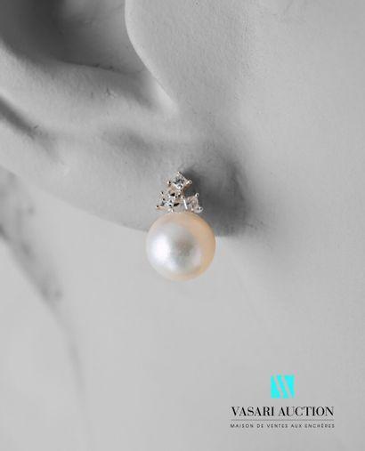 Paire de boutons d'oreilles en or blanc 750...