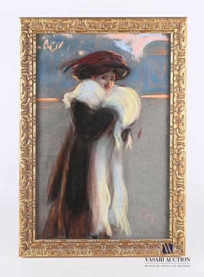 FORTUNEY Louis (1875-1951)  Elégante  Pastel...