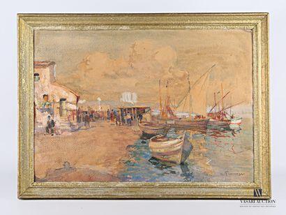 DE FRANCISCO Pietro (1873-1969)  Vue de port...