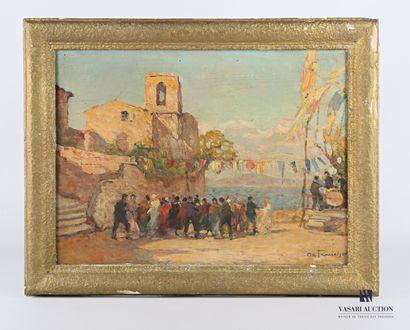 DE FRANCISCO Pietro (1873-1969)  Fête à Cassin...