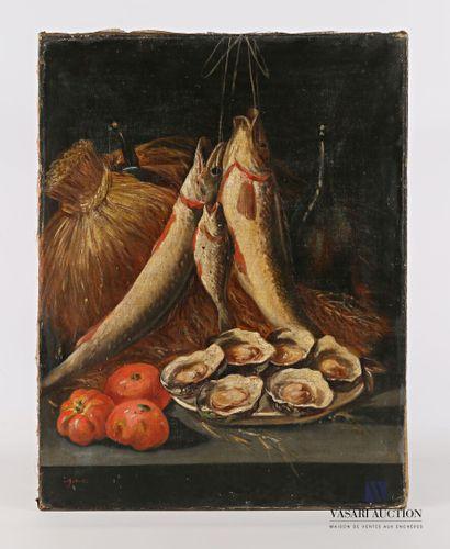 JONAS  Nature morte au poissons et huitres...